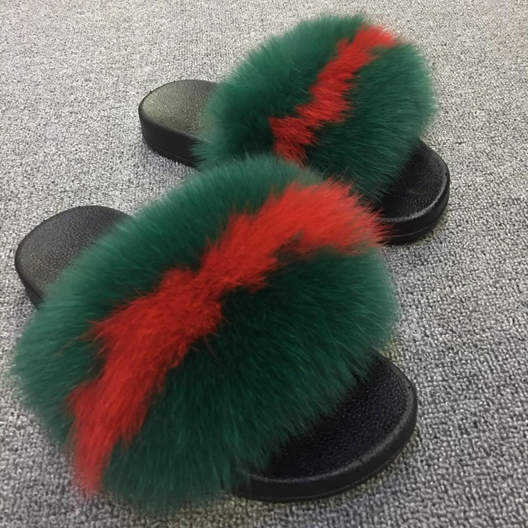 356e704c66a Fashion Slippers Women Fox Home Fluffy Sliders With Feathers Furry Summer  Outdoor Flats Sweet Ladies Candy Color Shoes Size 45 Slippers Cheap Slippers  ...