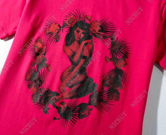 Camisa de diseñador de moda marca ropa de verano camiseta para hombres rosa sexy flores estampado cuello redondo camiseta camiseta top mujer camiseta