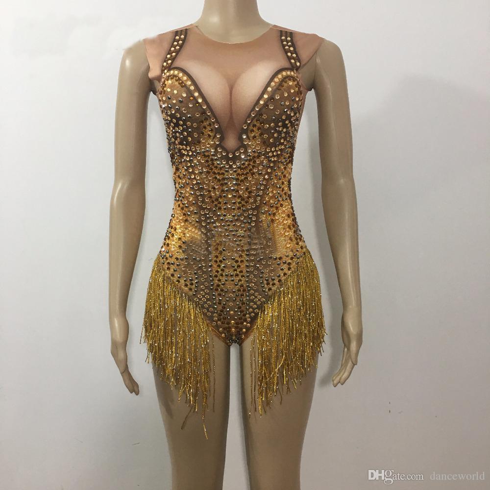 DJ Songbird Sparkly Gold Tassel Rhinestones Traje Escenario Danza Desgaste Sexy discoteca Baile de baile Traje Traje de una sola pieza