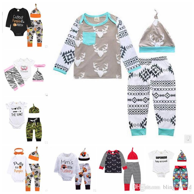 c29da31a7735 2019 Kids Designer Clothing Set Halloween Pumpkin Print Clothes ...