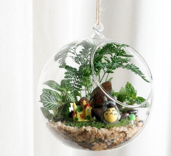 6 8 10cm Hanging Glass Flowers Plant Vase Terrarium Container Bowl