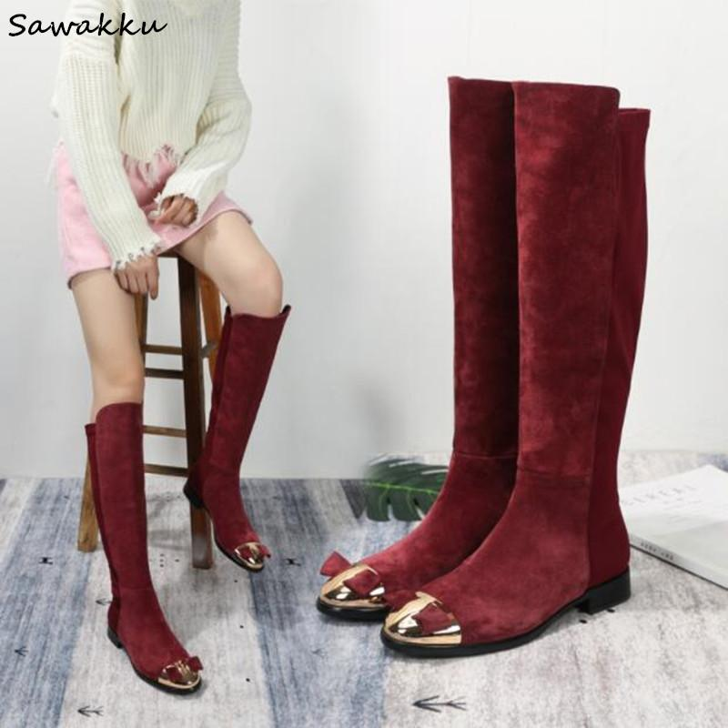 New Genuine Leather Suede Sock Booties 2019 Bowties Embellished Gold Iron  Toe Women Flats Slim Winter Knee High Boots Red Black White Boots Black  Boots For ... d07ff5550e