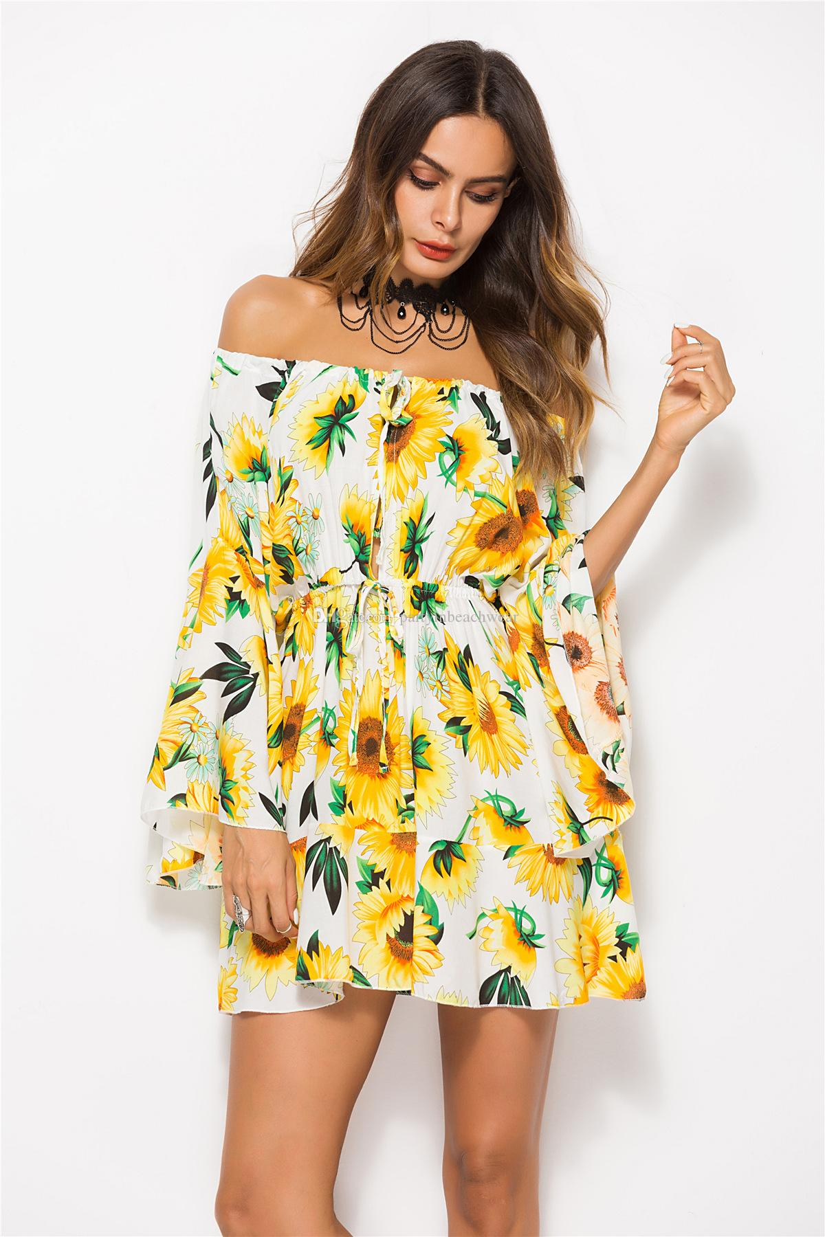 0b7532985 Mulheres verão boêmio praia dress New Tropical folha impressão floral à  beira-mar férias flare manga curta vestidos casuais festa de noite vestidos