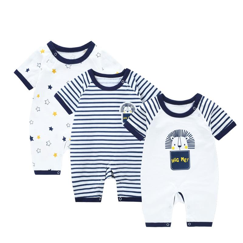 24076572a79 2019 Jumpsuit Baby Boy Summer Romper Newborn Striped Baby Girl Clothes  Rompers Short Sleeve Boy Overalls For Newborns From Entent