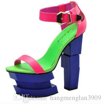 8b017fba5857 Pink Palms Summer Sandals Sexy Women High Heels Sandals Sweetly Blush  Fashion Buckle Thick Women Platform Sandals Heeled Sandals Boys Sandals  From ...