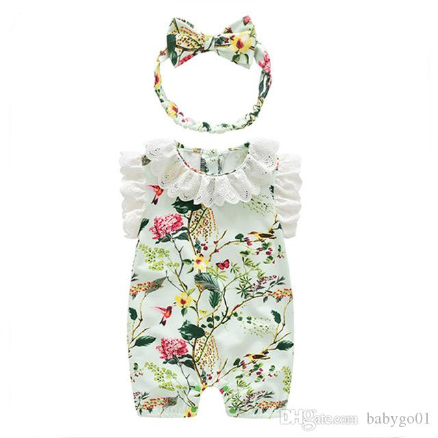 3262c07a94ab Infant Girls Clothes for Baby Kids Pirnting Rompers Newborn Overalls ...