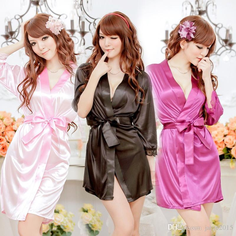 0430affe27 Summer Women Nightgown Robes Bathrobes Set Sexy Lace Silk Satin Home  Clothes Pajamas Sleepwear Nightgown Nightwear Sexy Uniforms Sexy Womens  Underwear From ...