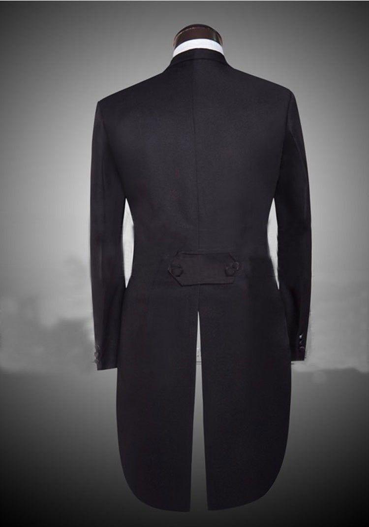 Custom Made Peaked Revers Back Vent Schwarz / Weiß Frack Männer Party Groomsmen Anzüge in Hochzeits-Smoking Jacke + Hose + Tie + Weste NO; 311