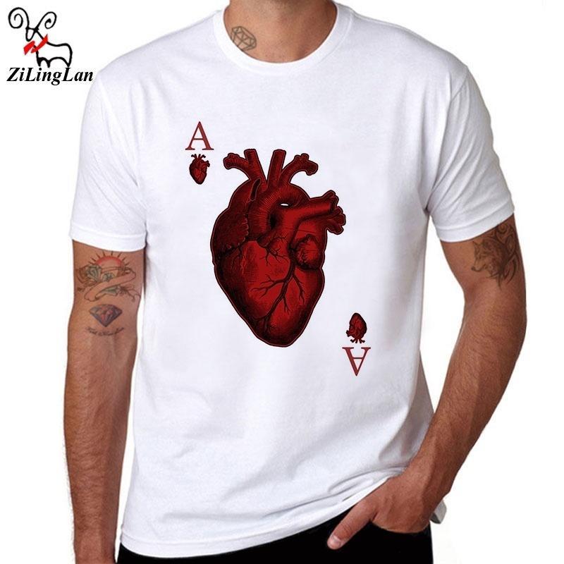 Compre O Pescoço Legal Tops Designer De Poker Coração T Shirt Moda Masculina  Harajuku Camisetas Engraçadas Hipster Solto Tees EUA   EUR Tamanho De ... 5619a83cbb324