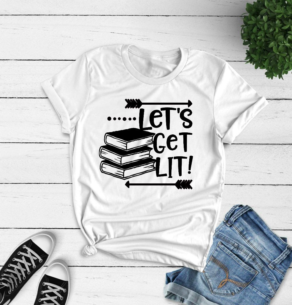 2fbda3ea Women's Tee Let's Get Lit T-shirt Funny English Teacher Book Graphic Women  Fashion Cotton Casual Teacher Day Gift Grunge Tumblr Harajuku Tee