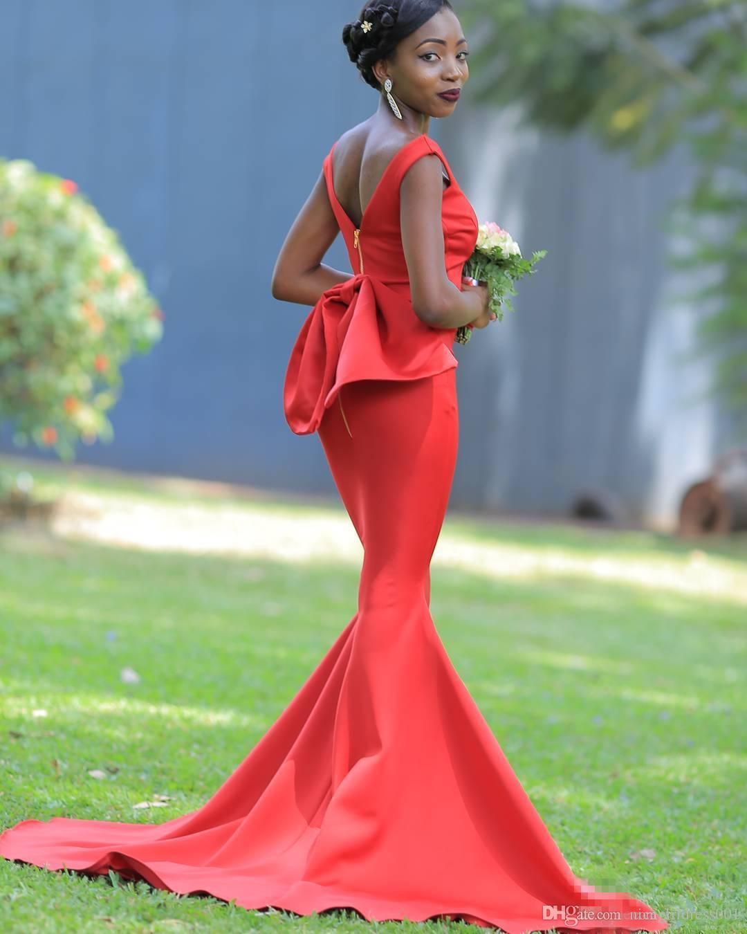 South African Nigeria Girls Backless Bridesmaids Dresses 2018 Mermaid Off Shoulder With Removable Big Bow Tie Plus Size Maid of Honor Gowns