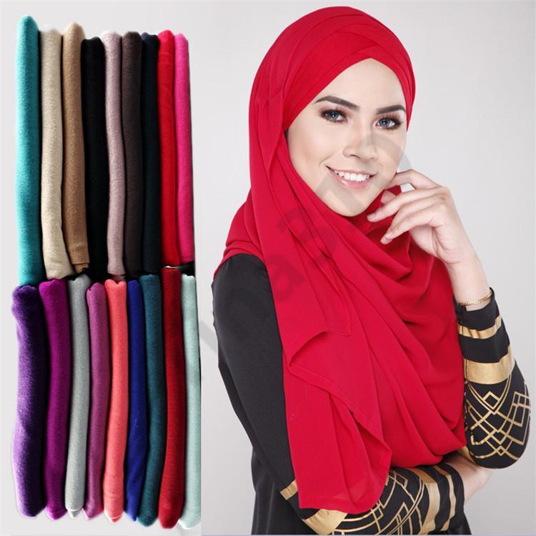 cb509d8fc3b Acheter 85   185 Cm Femmes Hijabs Écharpe Châles Tête Musulman  Surdimensionnée Enveloppe Doux Longue Mousseline De Soie Musulman Plaine Hijab  Écharpes En ...