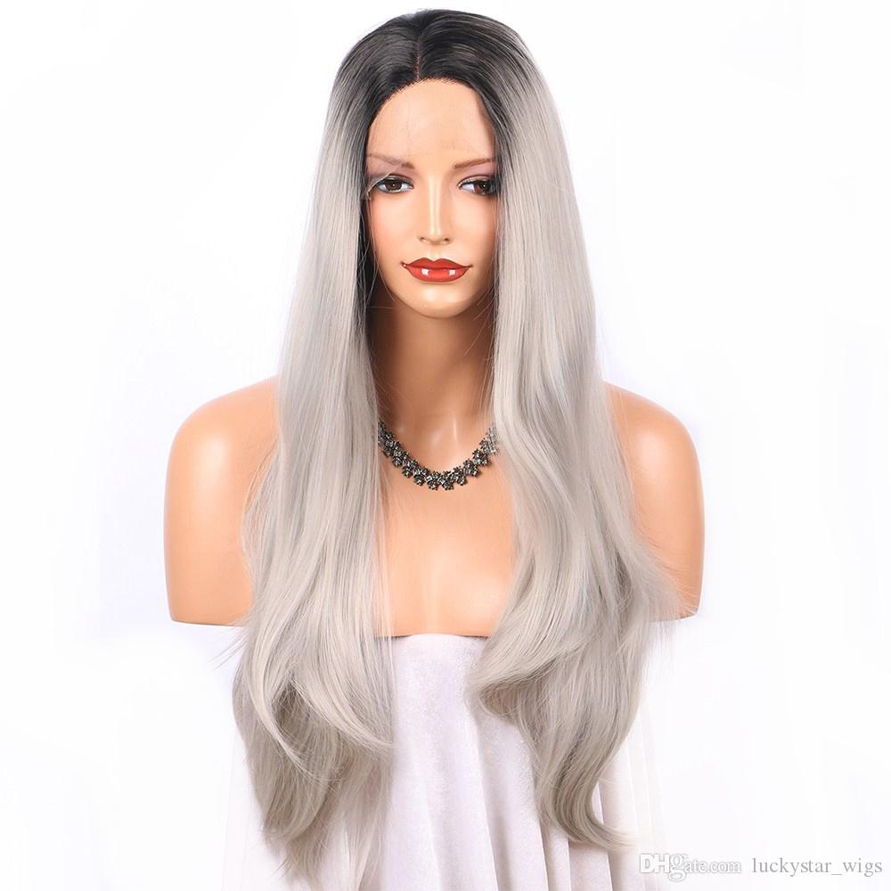 Ombre Silver Grey Wig Synthetic Lace Front Wig Dark Roots Natural Straight  Long Wigs For Women 22 Inches Heat Resistant Fiber Synthetic Wig Care  Products ... 1c953e03d