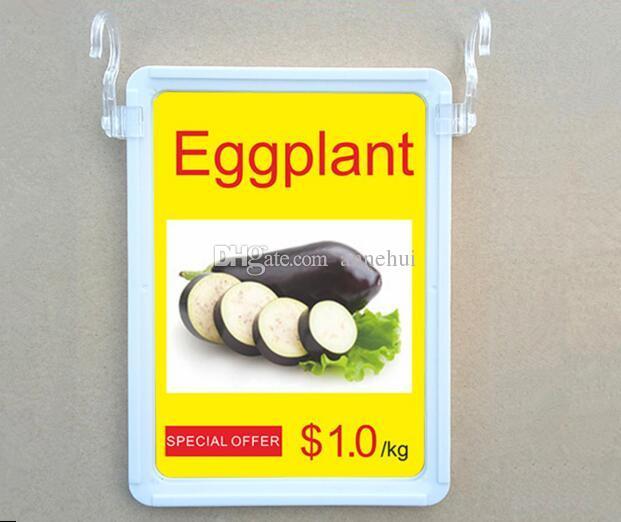 Supermercado A4 POP publicidade promoção cartaz preço tag frame display duplo S pendurado gancho preço menu dupla face rack de exibição 5 jogos / lote