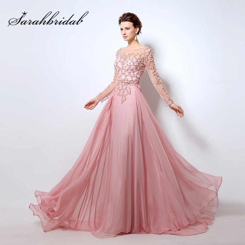 78285f7b11cba Beading Long Sleeves Evening Dresses Pink Chiffon Abendkleider 2018  Illusion Neckline Party Designs Prom Gowns OL051 Online with $349.8/Piece  on ...