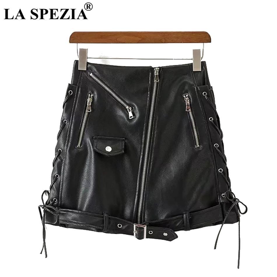 ce24cb64e 2019 LA SPEZIA Leather Skirts For Women Lace Up Black Mini Short Skirts  With Belt Female Zippers Biker Slim Fit Punk Rock Mini Skirt From Sheju, ...