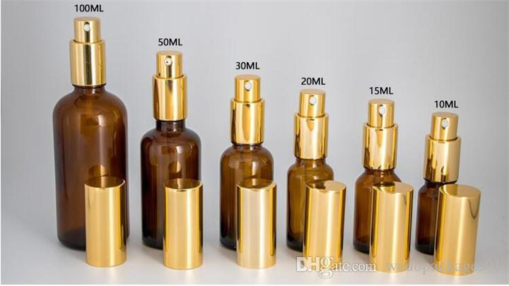 Amber perfume spray bottle 30ml glass spray bottle with alumite golden mist spray cap for cosmetic perfume oil bottle