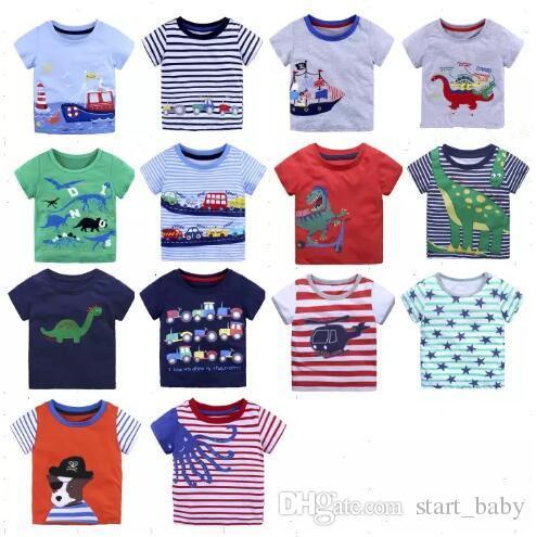 59622377dd3b9 Acheter Hotsale Enfants T Shirts Garçons Dessin Animé T Shirts Vêtements  Pour Enfants Plage Bateau À Voile Dinosaure Voitures À Manches Courtes  Coton ...