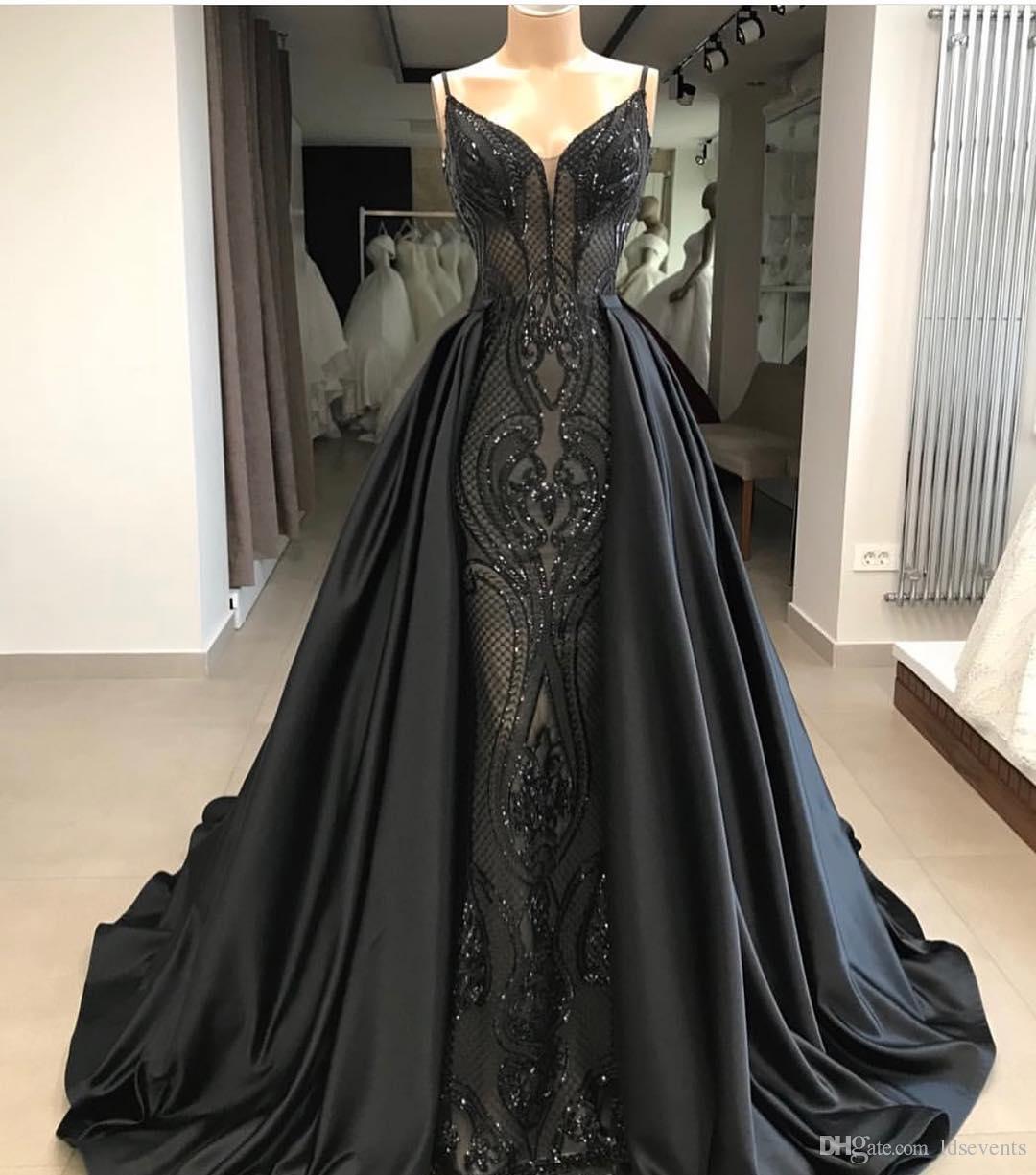 7c3a04c48fd49 African Black Evening Dresses Moroccan Kaftan Detachable Skirt Gowns Dubai  Turkish Arabic Aibye Prom Dress Abendkleider