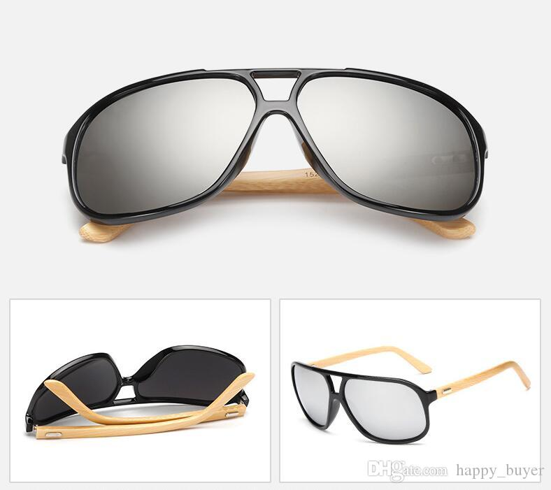 New Retro Fashion Men Women Trend Bamboo Sunglasses Summer Beach Holiday Trave Sun Glasses Gold Resin Lenses Eyeglasses Cheap