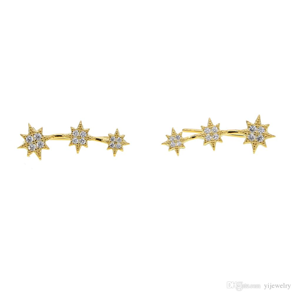 2018 100% 925 Sterling Silver 2018 Christmas Gift Star Earring Ear ...