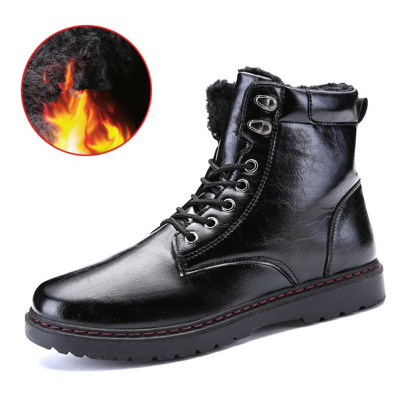 0f63eaaf87a5 BOLE Winter Boots Men Lace Up Leather Casual Shoes Ankle Waterproof Winter  Snow Boots Thick Sole Platform Men Fashion Monkey Boots Cheap Football Boots  From ...