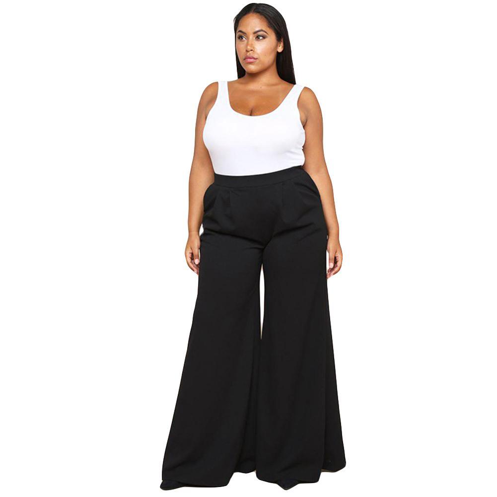 71c38449c 3XL Tallas grandes Pantalones anchos para mujer Moda de color sólido  Bolsillos laterales Pantalones Harajuku Pantalones de cintura alta Negro /  ...