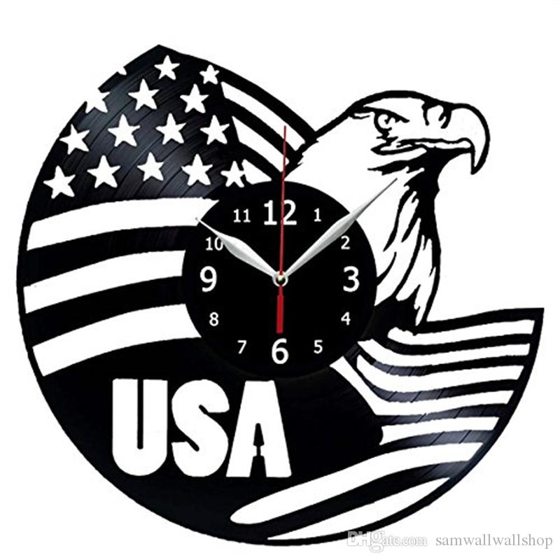 Usa Flag Vinyl Wall Clock Modern Home Decor Crafts Creative Handmade