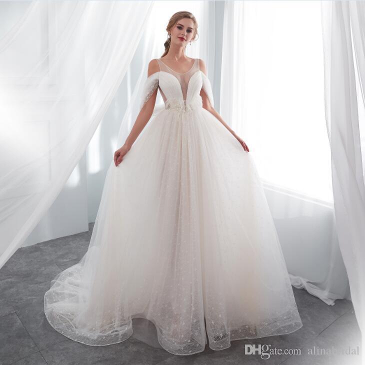 compre 2018 a line en stock blanco tulle vestidos de novia apliques