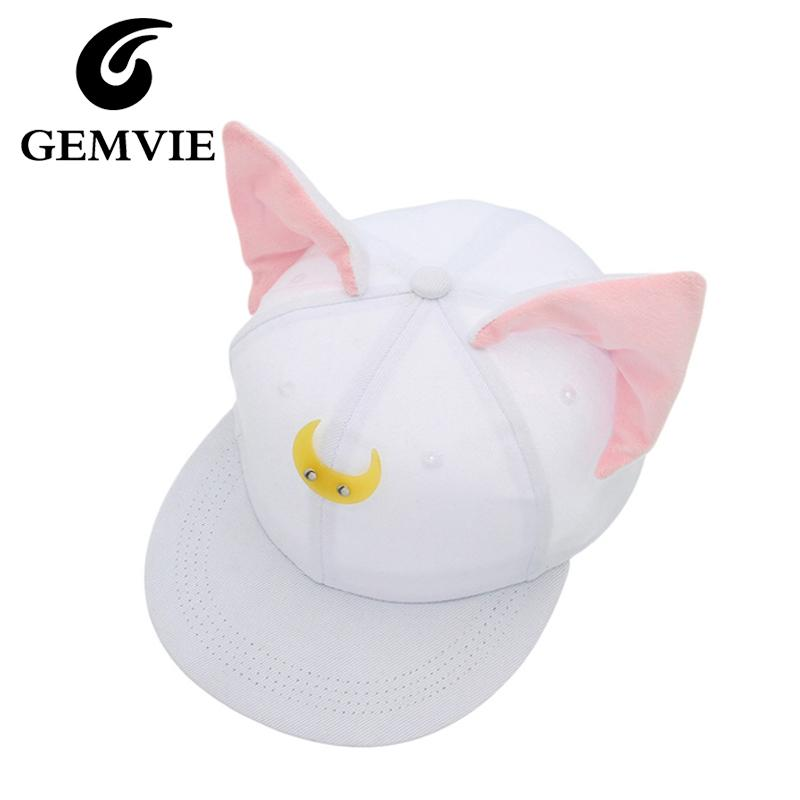 219daec7b5b Pretty Soldier Sailor Moon Loona Same Style Baseball Hats Women Cute Cat  Ears Hip Hop Snapback Casquette Gorras New Year Gifts Lids Hats Visors From  Duweiha ...