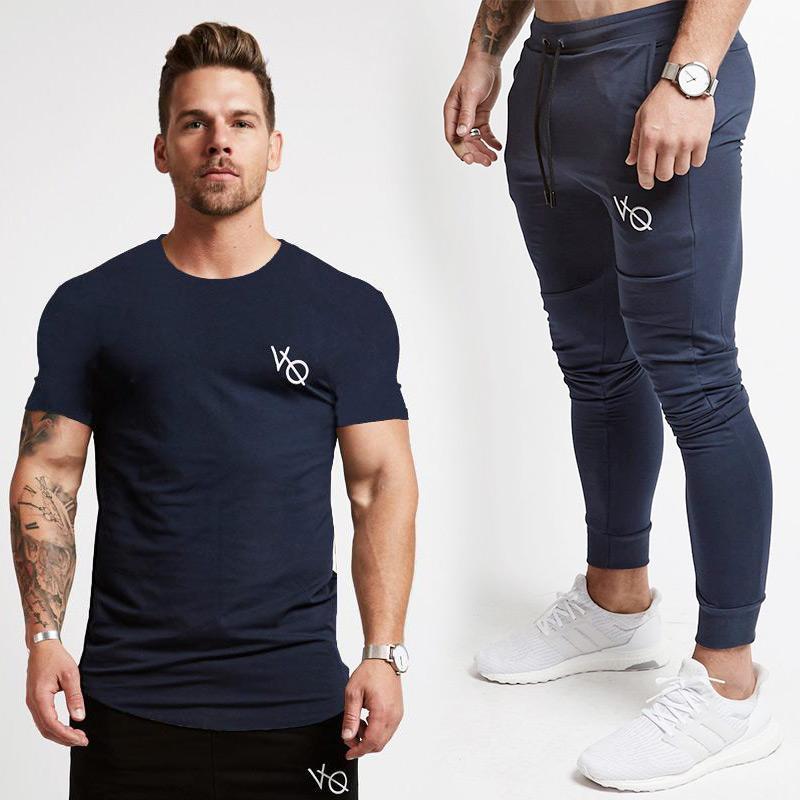 851848f96aaa 2019 New VQ Men Short Sleeve T Shirt +Joggers Sweatpants Sets Gyms ...