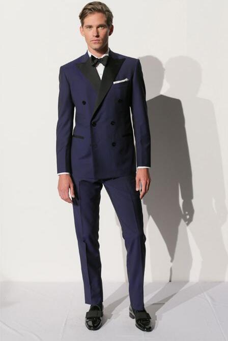 the latest 91dcf e71ca Abito uomo blu navy su misura, abito doppiopetto, smoking su misura uomo  sposo groomsmen smoking per uomo (giacca pantaloni fiocco