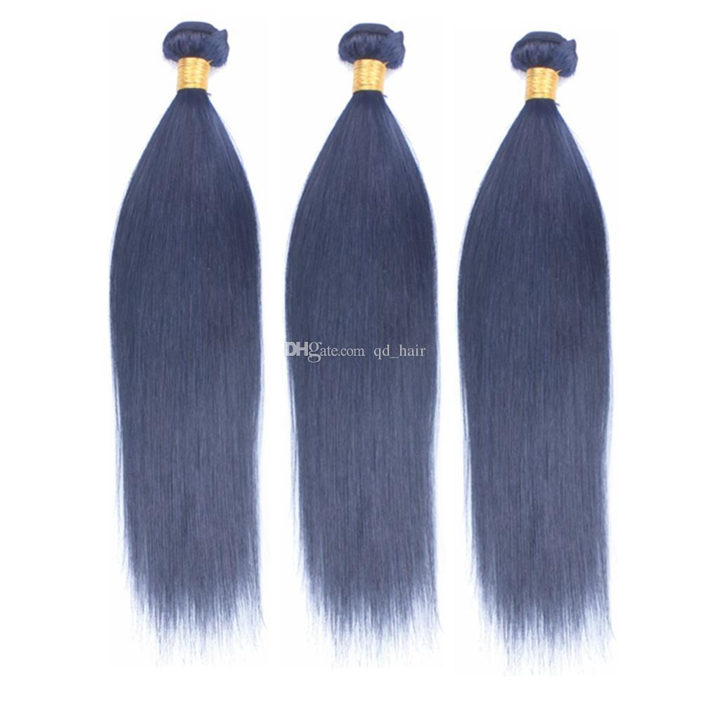 Cabelo Humano Em Linha Reta Azul escuro 3 Pacotes Com Fechamento Do Laço Cor Pura Cabelo Azul Tece Tramas Com Fecho de Renda 4x4