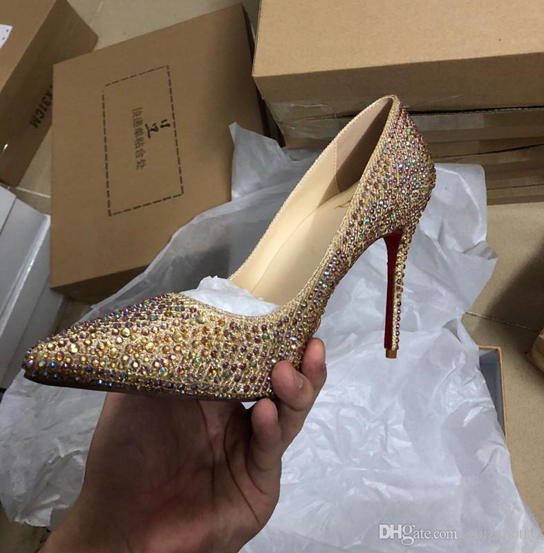 Red Carpet Celebrity Wedding Bride Pumps with Rhinestone Glitter Thin high heels so kate Ladies Dress Shoes Big Size euro 42