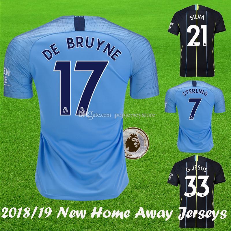 2018 2019 KUN AGUERO Home Blue Soccer Jersey STERLING GUNDOGAN DE ... f2d9a6079809a