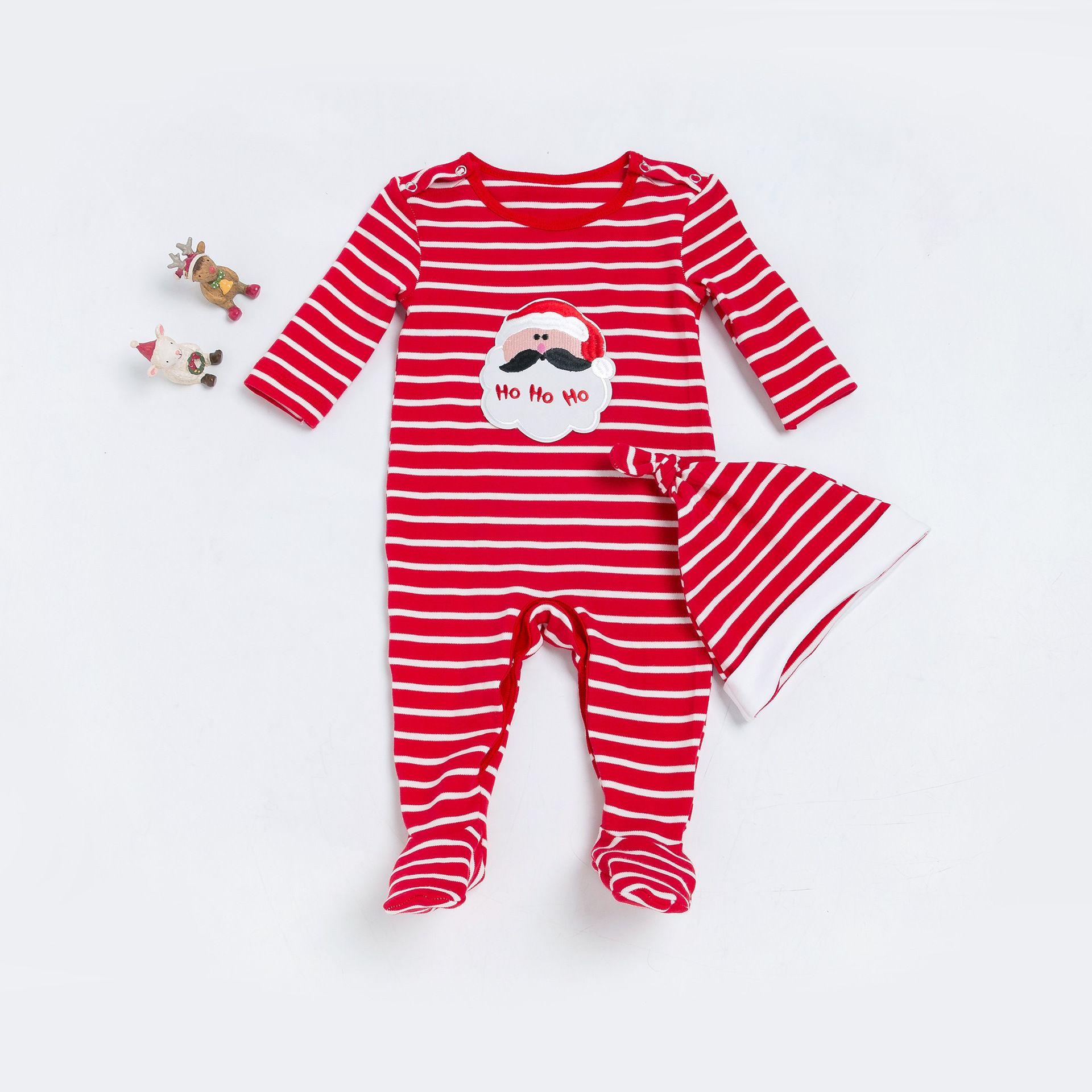 ca1cb149e Christmas Rompers 0-24 Months Baby Cotton Striped Jumpsuit+Hat=2PCS/Set  Newborn Boys Girls Long Sleeve Autumn Winter Cotton Pajamas
