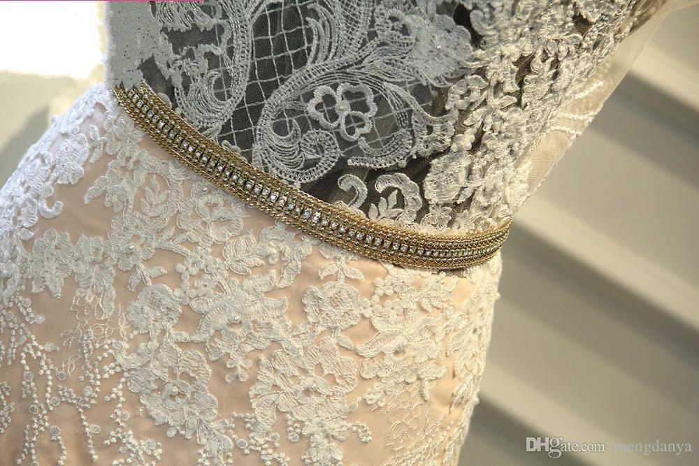 2019 vestido de novia de encaje de moda luz rosa extraíble abalorios Sash desmontable cola capilla tren Robe De Mariage m65