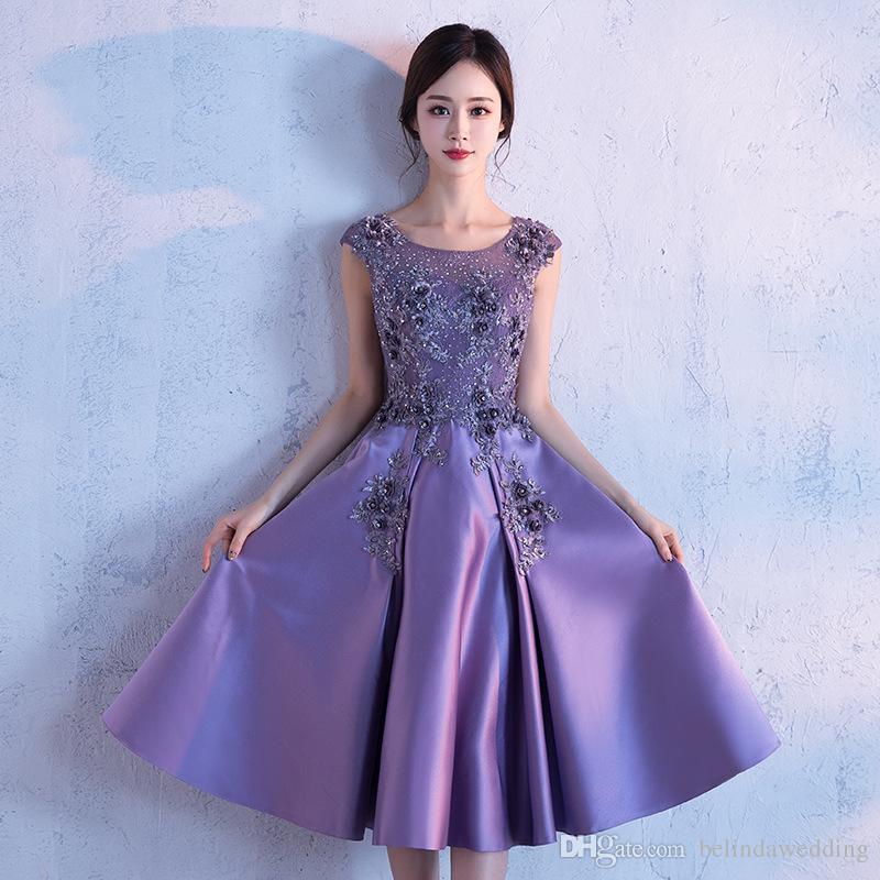 Compre País Corto Purple Dama De Honor Vestidos Baratos 2018 Sexy ...