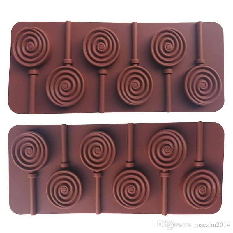 2Set/Lot 6 Holes Lollipop Mold with 6 Pcs Sticks DIY 3D Fondant Cake Round Shaped Chocolate Silicone Bakeware Kitchen Home Party