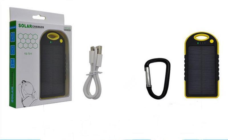 carregador de energia solar 5000 mah bateria painel solar à prova d 'água à prova de choque à prova de poeira banco de potência portátil para telefone celular portátil câmera usb