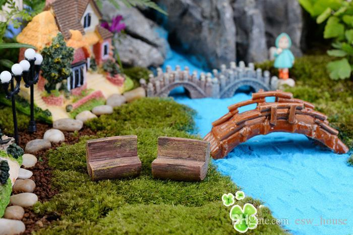 Crafts Mini moderne Parc Bancs de jardin miniature de fées Miniatures Accessoires Jouets pour maison de poupée Cour Décoration