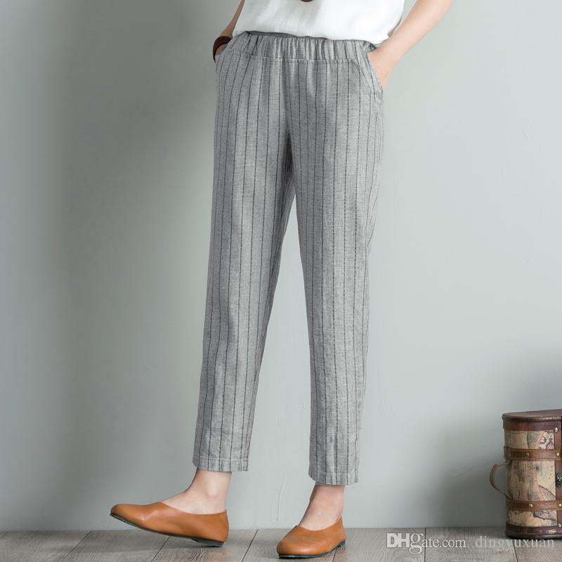 15e9dd88829fc Ladies Plus Size 4XL Summer High Waisted Trousers Women Linen Striped Harem  Pants Cullotes Beige Blue Gray Thin Pantalon Femme 2018 UK 2019 From  Dingyuxuan