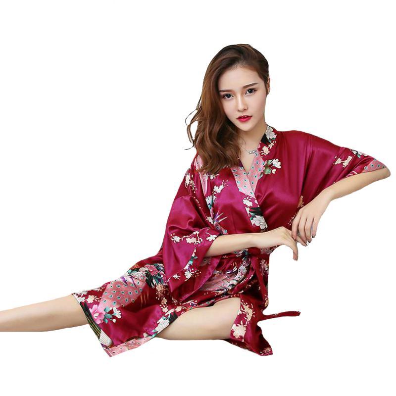 5e1b8fd55482a6 Plus Size Da Dama De Honra Da Noiva Robe De Casamento XXXL Sexy Lady  Sleepwear Verão Kimono Roupão De Banho FloralPeacock Camisola Negligee