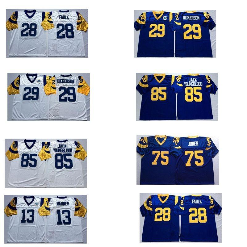 new styles d11b5 52bbe 85 Jack Youngblood Jersey Men 13 Kurt Warner 28 Marshall Faulk 29 Eric  Dickerson 75 Deacon Jones Jersey Blue White