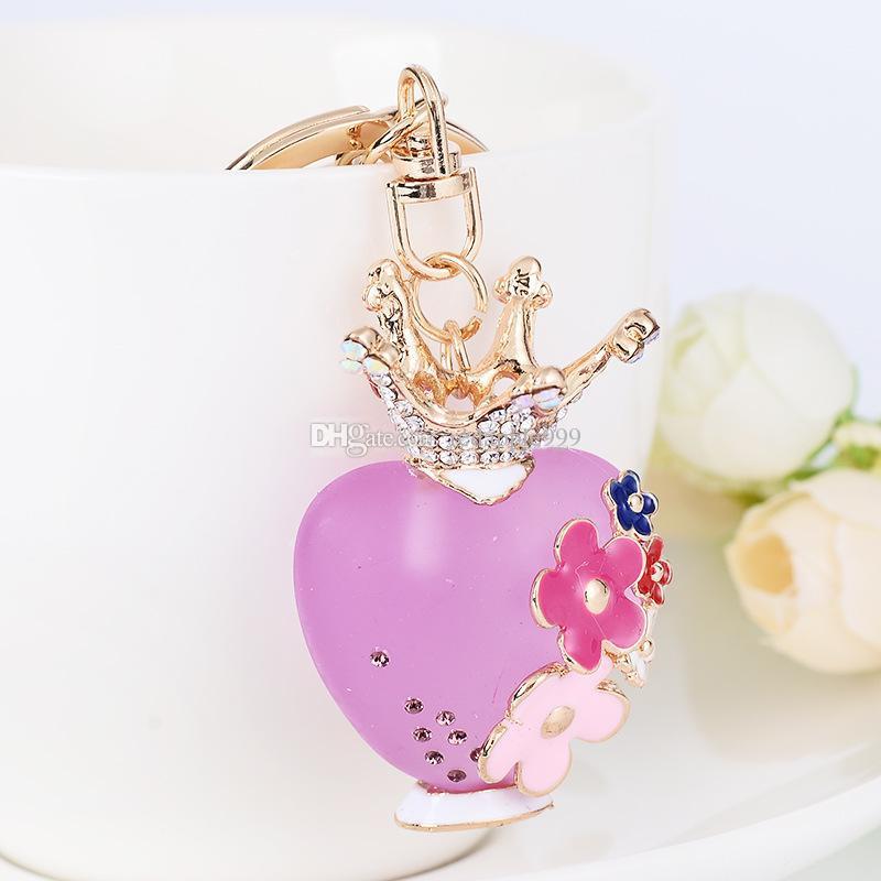 Bling Bling Strass Herz Vase Form Metall Schlüsselanhänger Schlüsselanhänger Auto Schlüsselanhänger Geldbörse Charms Handtasche Anhänger Hochzeitsgeschenk