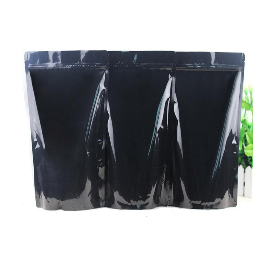 50pcs/lot 5 Sizes of Black Glossy Aluminum Foil Stand Up Zip Lock Bag Food Packaging Zipper Pouch seal Retail Package