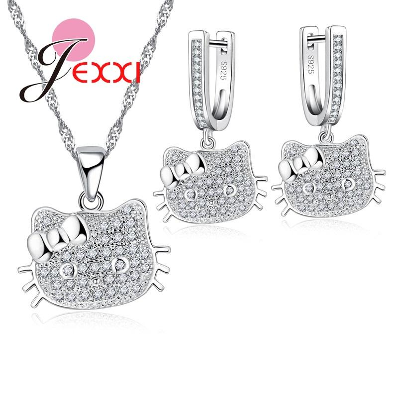 2019 Jemmin 925 Stamp Sterling Silver Stone Jewelry Set Cute Kitty Cat Necklace Earrings For Woman New Year Gift From Viulue 2195