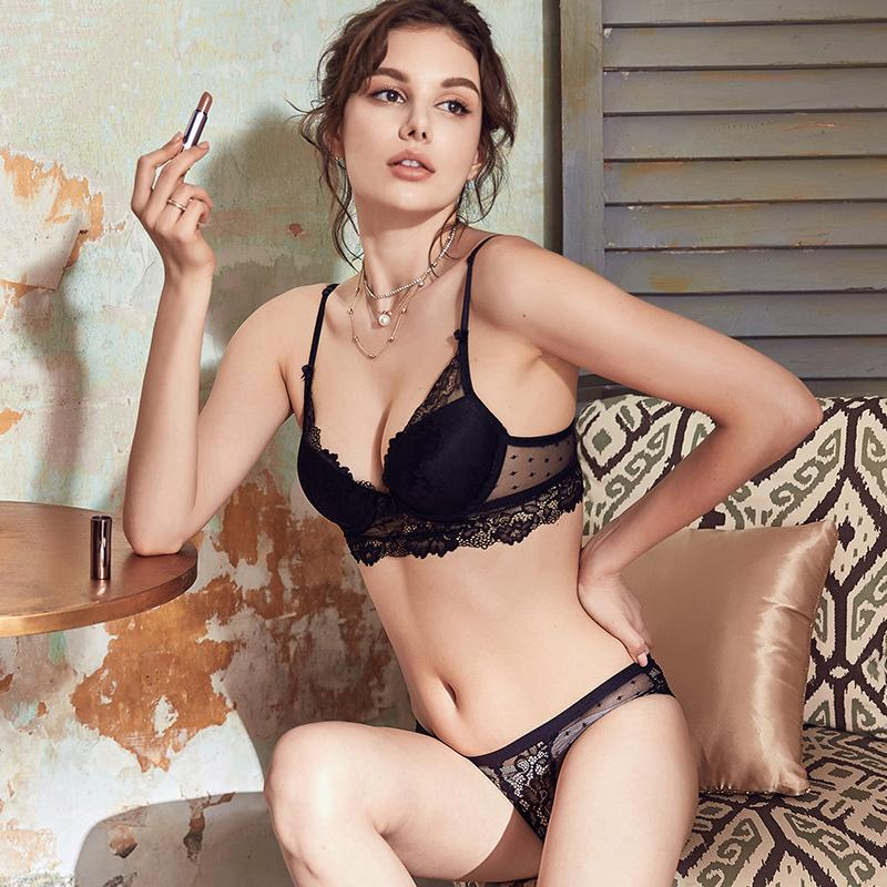 237c1f4760 New Sexy Lingerie Push Up Bra Set Cotton Brassiere Deep V Gather Black Lace  Underwear Set Embroidery Women Bra Panties Setsyw232 Online with   31.54 Piece on ...