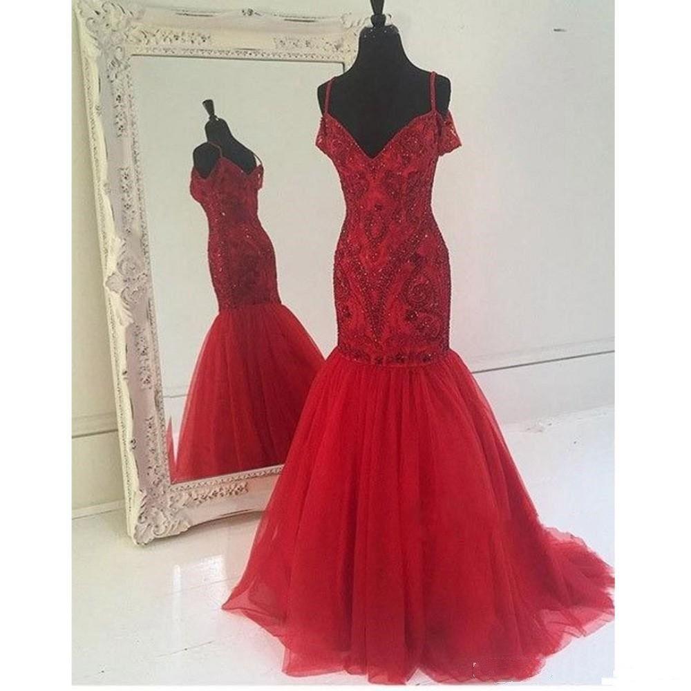 Immagine reale Vestito rosso scuro Prom Sirena Spaghetti Strap Bordare Zipper Backless Abiti da sera lunghi Abiti da cerimonia Spettacolo Celebrity Gown