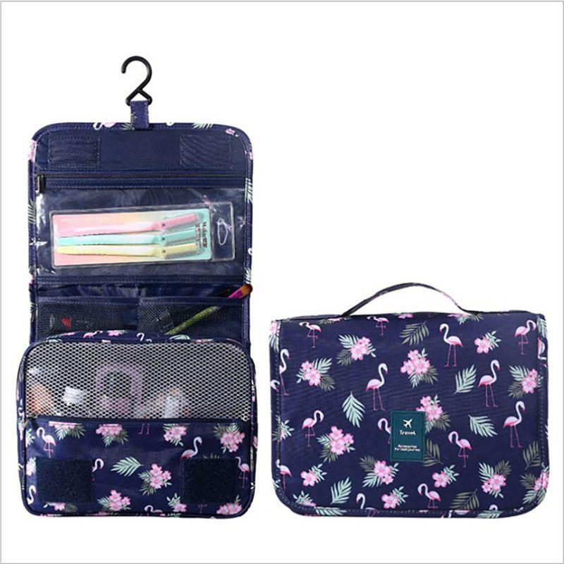 77b12e3ecc0d Hanging Travel Toiletry Bag Nylon Portable Makeup Cosmetic Organizer  Folding Travel Wash Bag Flamingo Dark